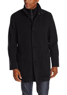 Cole Haan Men's Wool Cashmere Button Front Car Coat with Knit Bib  XX-Large