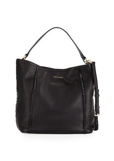Cole Haan Nickson Whipstitch-Trim Leather Hobo Bag