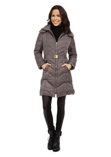 Cole Haan Oversized Collar Belted Down Jacket