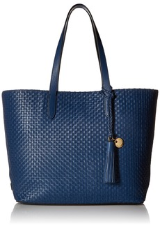 Cole Haan Payson Woven Leather Tote Bag navy peony
