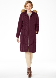 Cole Haan Petite Hooded Faux-Fur-Trim Down Puffer Coat