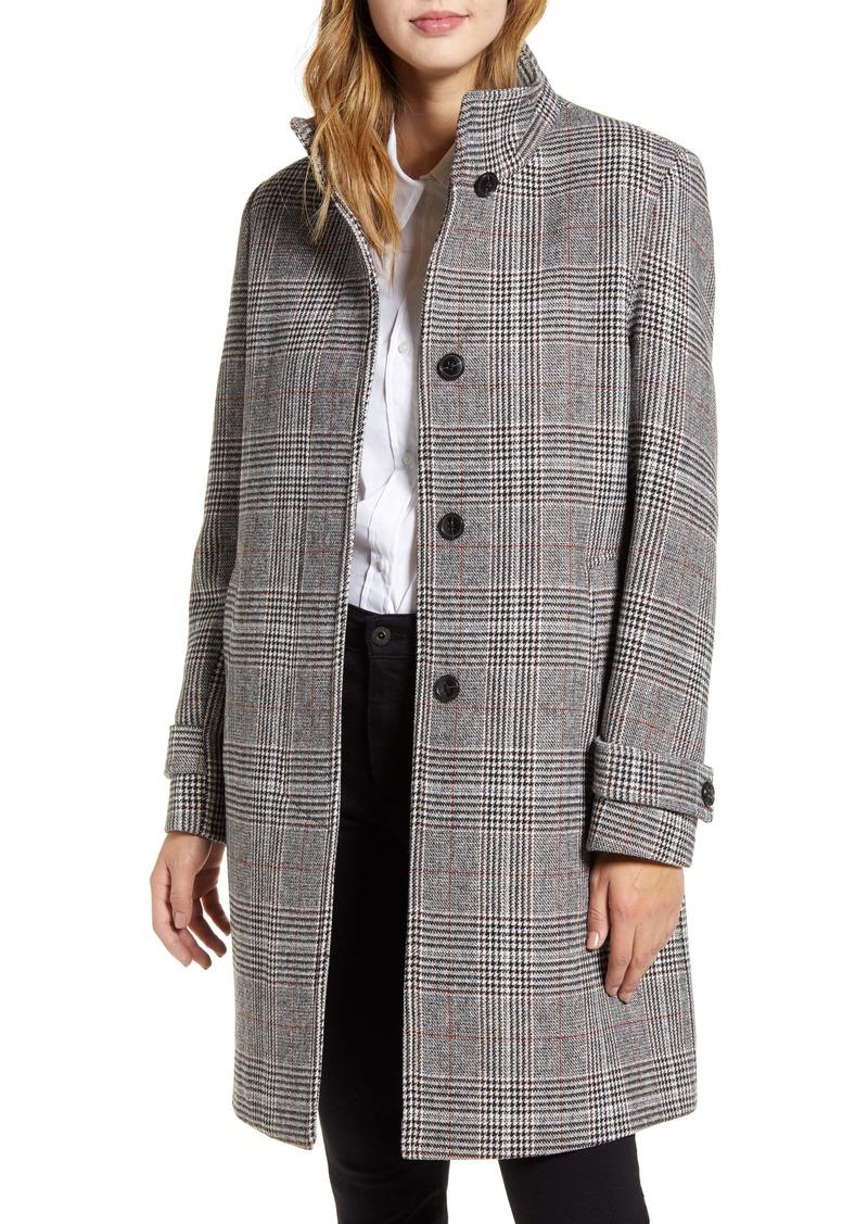 Cole Haan Plaid Wool Blend Coat
