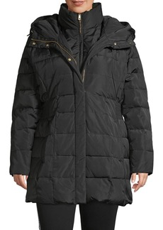 Cole Haan Plus Quilted Cinch-Waist Gilet Down Coat