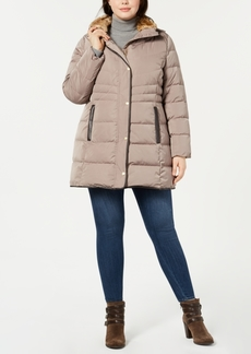 Cole Haan Plus Size Faux-Fur-Collar Puffer Coat