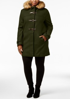 Cole Haan Plus Size Faux-Fur-Trim Toggle Walker Coat