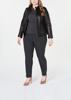 Cole Haan Plus Size Leather Moto Jacket