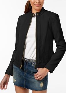 Cole Haan Plus Size Snap-Neck Leather Moto Jacket