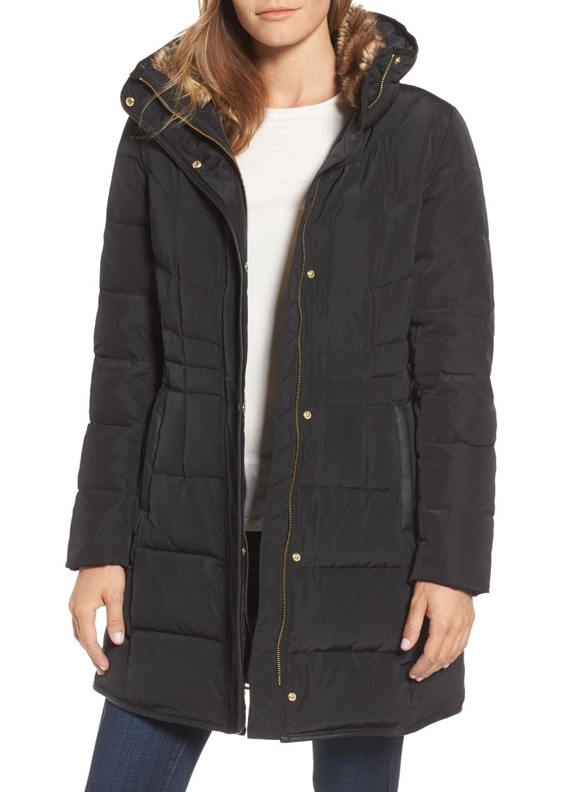 Cole Haan Quilted Down & Feather Fill Jacket with Faux Fur Trim (Regular & Petite)