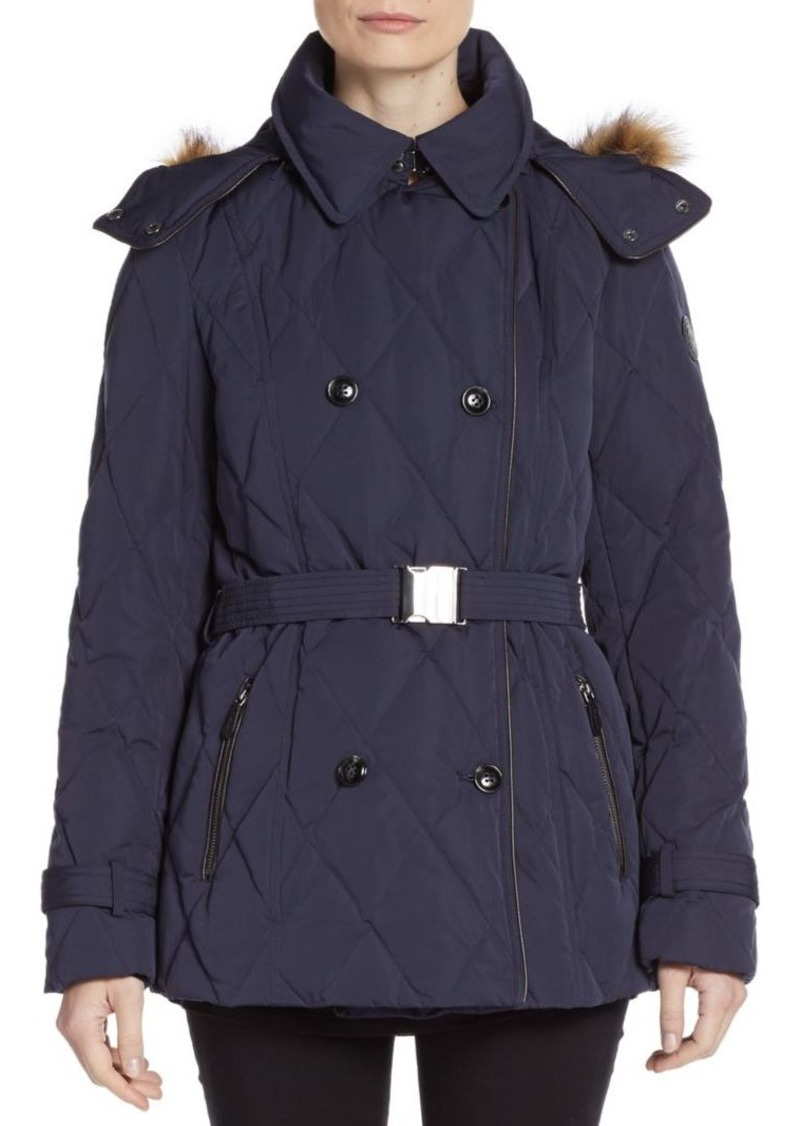 Cole Haan Quilted Faux Fur-Trimmed Coat