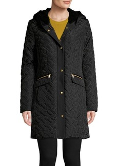 Cole Haan Quilted Faux Shearling Trimmed Hooded Coat