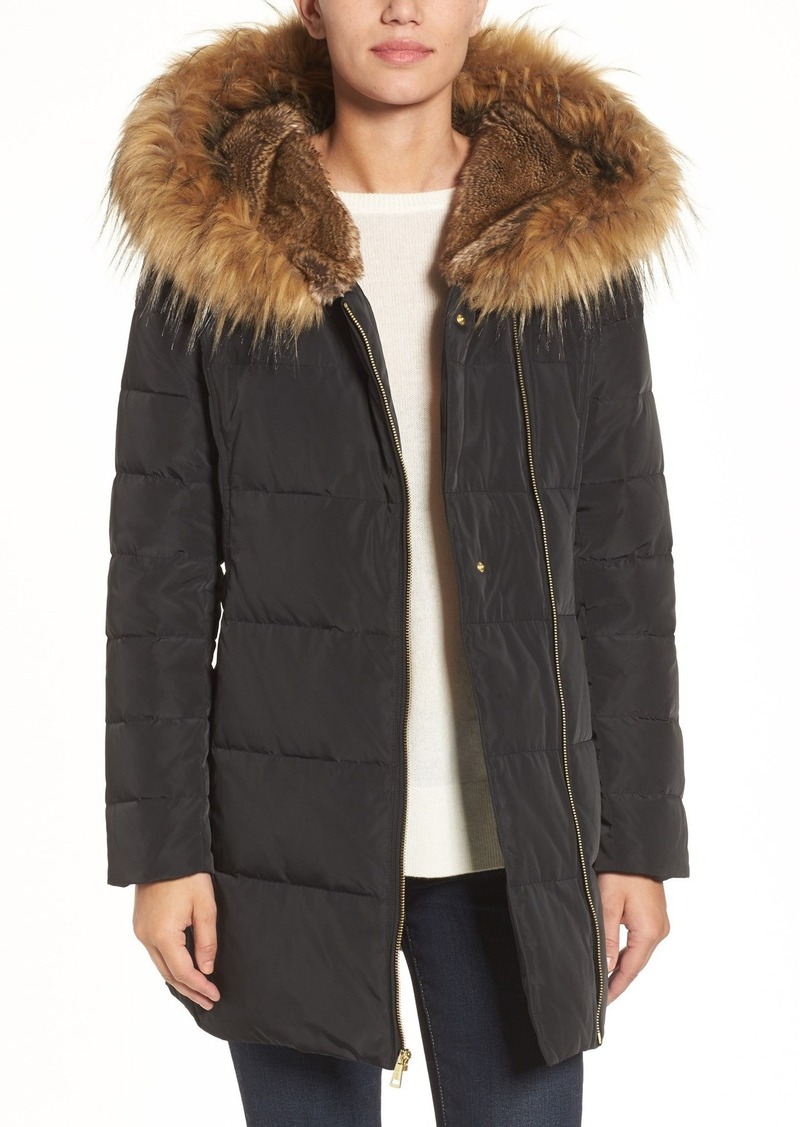 Cole Haan Quilted Jacket with Faux Fur Trim Hood