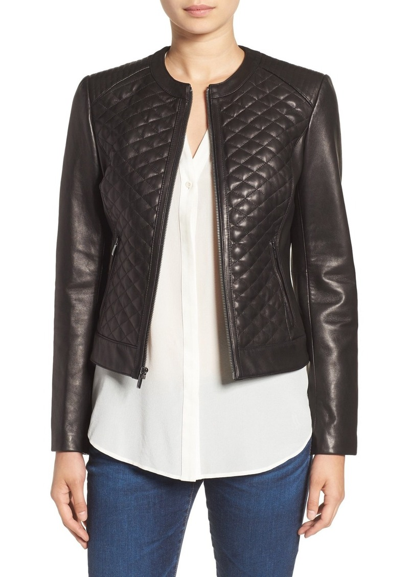 Cole Haan Cole Haan Quilted Leather Moto Jacket Outerwear