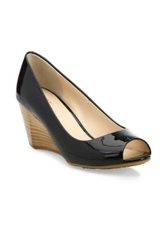 Cole Haan Sadie OT Patent Leather Peep Toe Wedge Pumps