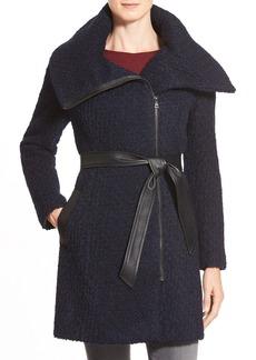 Cole Haan Signature Belted Asymmetrical Bouclé Wool Blend Coat
