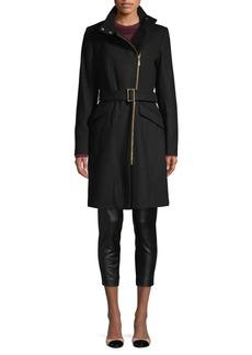 Cole Haan Signature Belted Asymmetrical-Zip Wool-Blend Coat