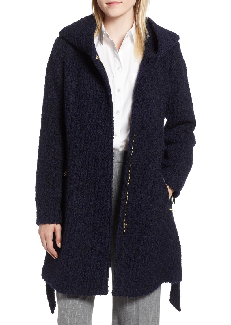 Cole Haan Signature Belted Bouclé Wool Blend Coat