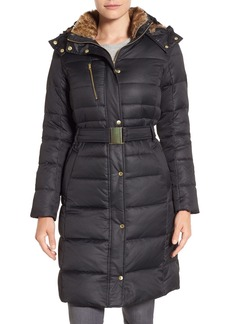 Cole Haan Signature Belted Down & Feather Fill Long Coat with Faux Fur Trim