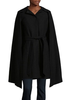 Cole Haan Signature Belted Wool Attached Scarf Coat