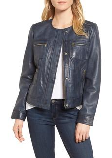 Cole Haan Signature Collarless Leather Trucker Jacket