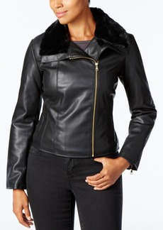 Cole Haan Signature Faux-Fur-Collar Moto Jacket