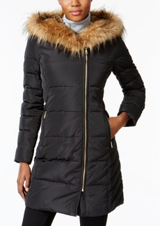 Cole Haan Signature Faux-Fur-Trim Asymmetrical Puffer Coat
