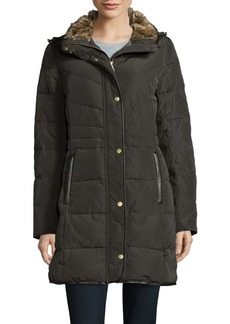 Cole Haan Signature Faux Fur-Trimmed Quilted Coat