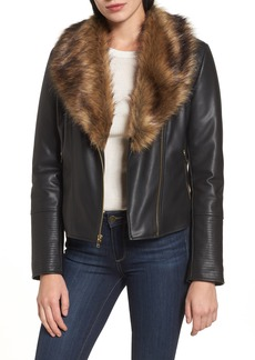 Cole Haan Signature Faux Leather Jacket with Detachable Faux Fur