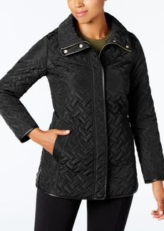 Cole Haan Signature Faux-Leather-Trim Quilted Coat