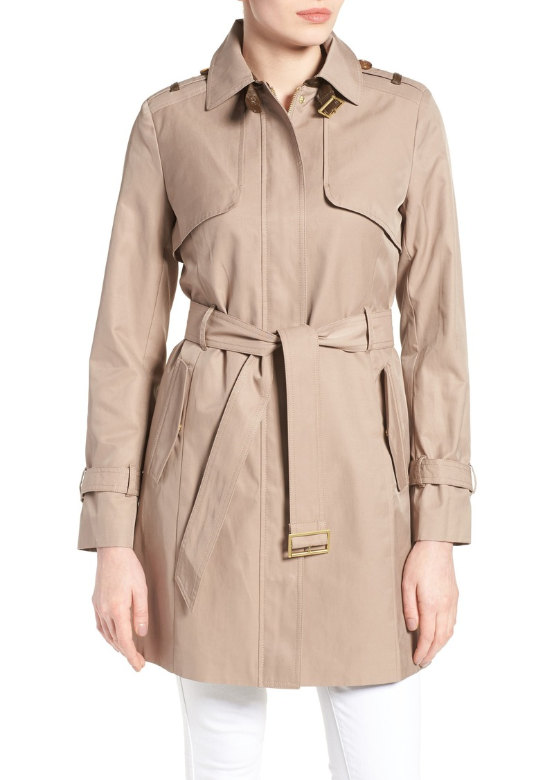 Cole Haan Signature Faux Leather Trim Trench Coat