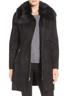 Cole Haan Signature Faux Shearling Coat with Faux Fur Trim