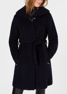 Cole Haan Signature Hooded Textured Belted Walker Coat