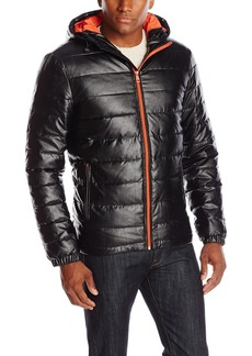 Cole Haan Signature Men's Faux Leather Poly Filled Hooded Jacket with Contrast Lining