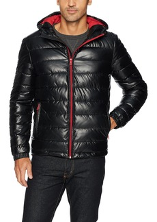 Cole Haan Signature Men's Hooded Faux Leather Jacket Black/red