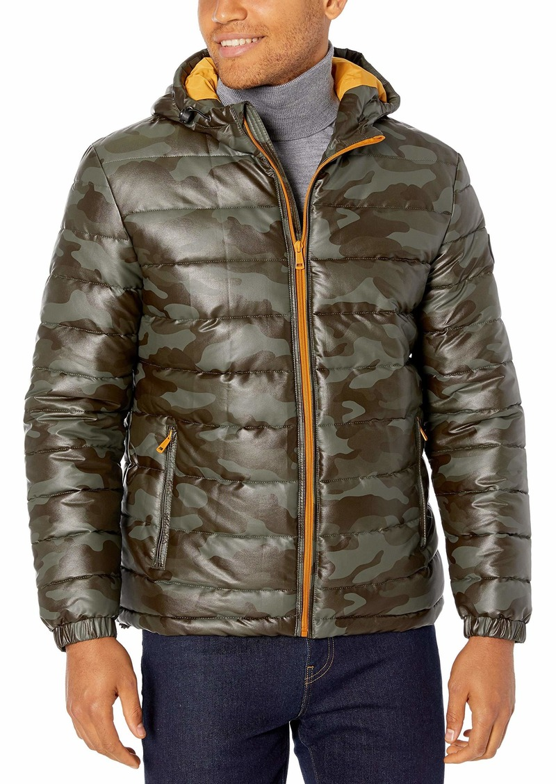 Cole Haan Signature Men's Leather Faux Down Hooded Jacket with Contrast Lining