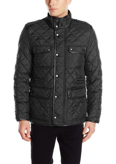 Cole Haan Signature Men's Nylon Quilted Jacket With Corduroy Trim