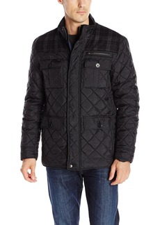 Cole Haan Signature Men's Plaid Wool Mixed Media Multi Pocket Jacket