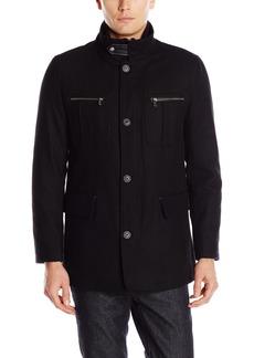 Cole Haan Signature Men's Wool Melton Coat with Nylon Bib