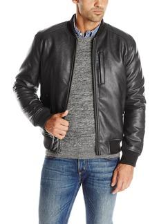Cole Haan Signature Men's Zip Front Faux Leather Varsity Jacket