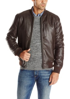 Cole Haan Signature Men's Zip Front Faux Leather Varsity Jacket