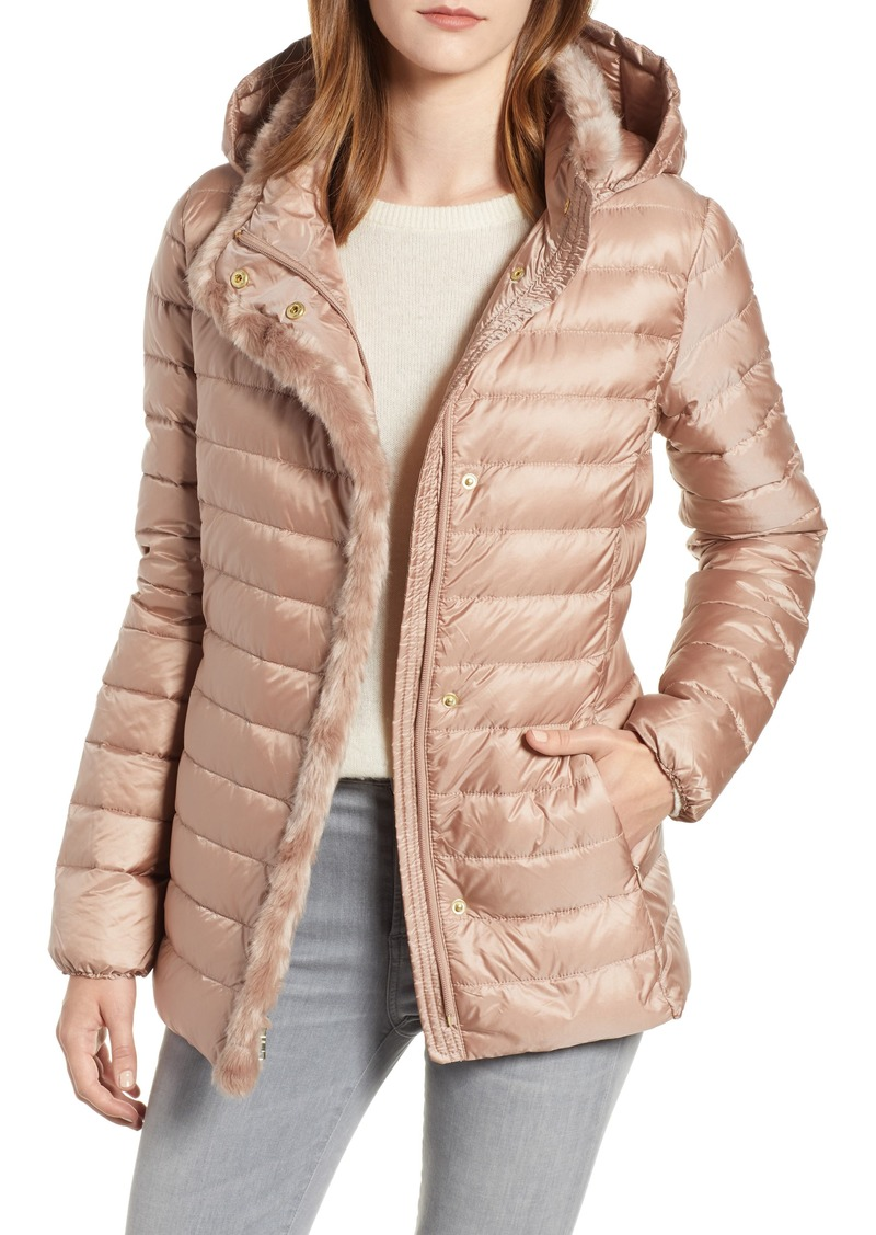 ccb3a983a Signature Quilted Down Jacket with Faux Fur Trim