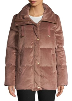 Cole Haan Signature Quilted Velvet Puffer Jacket