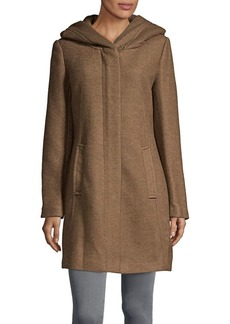 Cole Haan Signature Textured Wool-Blend Hooded Coat