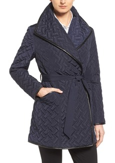 Cole Haan Signature Water Resistant Quilted Wrap Coat