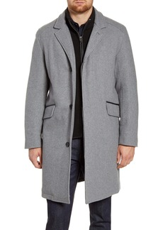 Cole Haan Signature Wool Blend Topcoat with Interior Knit Bib