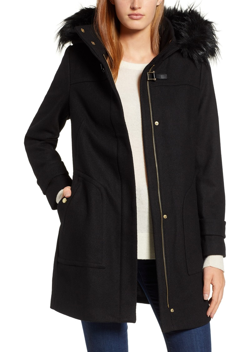 Cole Haan Signature Wool Blend Twill Duffle Jacket with Faux Fur Trim