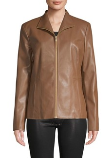 Cole Haan Signature Zipper Faux-Leather Jacket