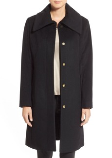 Cole Haan Signature Single Breasted Wool Blend Coat (Regular & Petite)