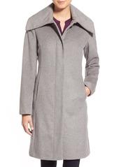 Cole Haan SignatureSingle Breasted Wool Blend Coat (Regular & Petite)