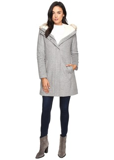 Cole Haan Striccato Wool Hooded Parka w/ Faux Fur
