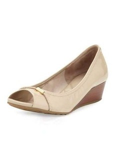 Cole Haan Tali Open-Toe Leather Wedge Pump